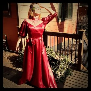Epic 1970's magenta prarie style bridesmaid's gown